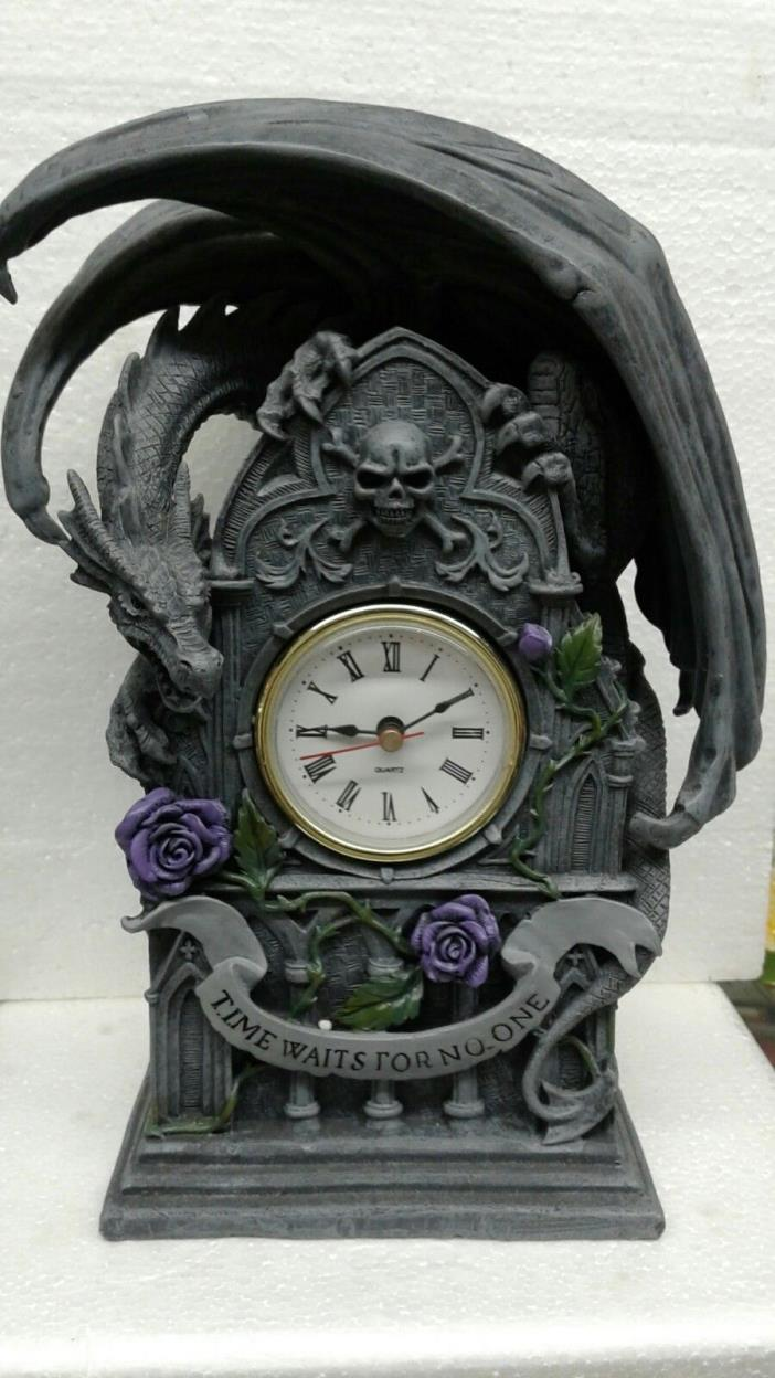 DRAGON TIME SKULL CLOCK FIGURINE/STATUE HAND PAINTED.