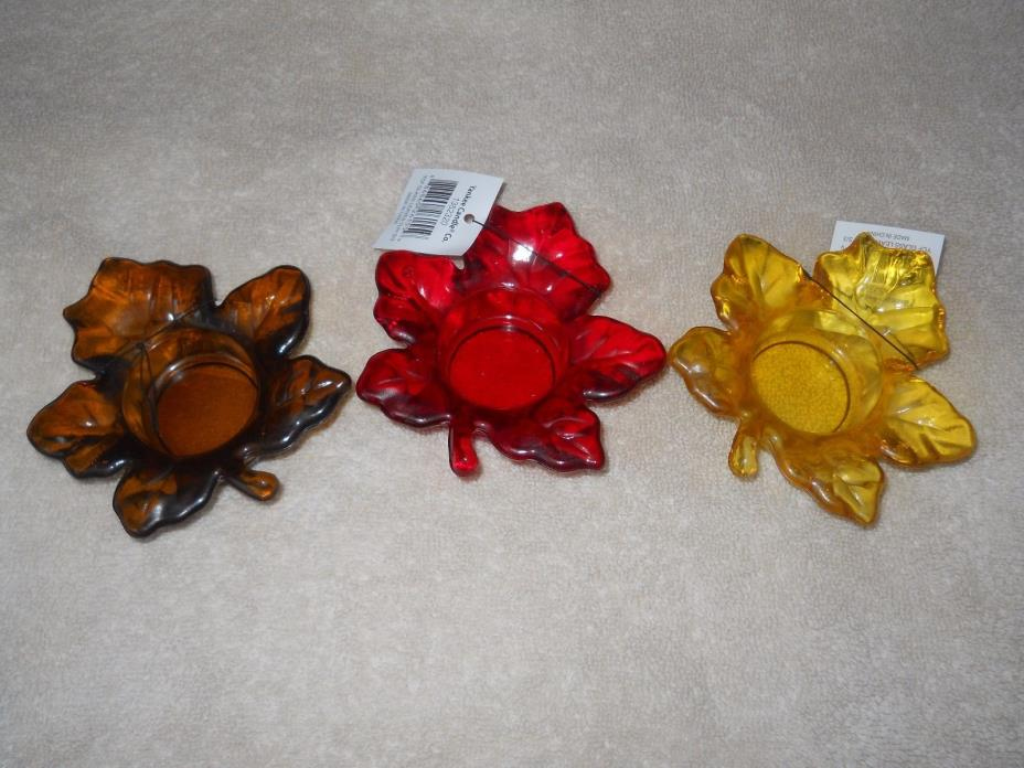 Yankee Candle Set of 3 Auburn Flicker Maple Leaves Tea Light Candle Holders NIB