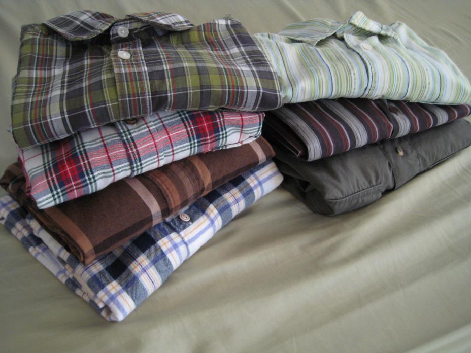 Lot of 7 Mens small long L/s shirts (Old Navy, Express, Nautica, Wrangler, more)