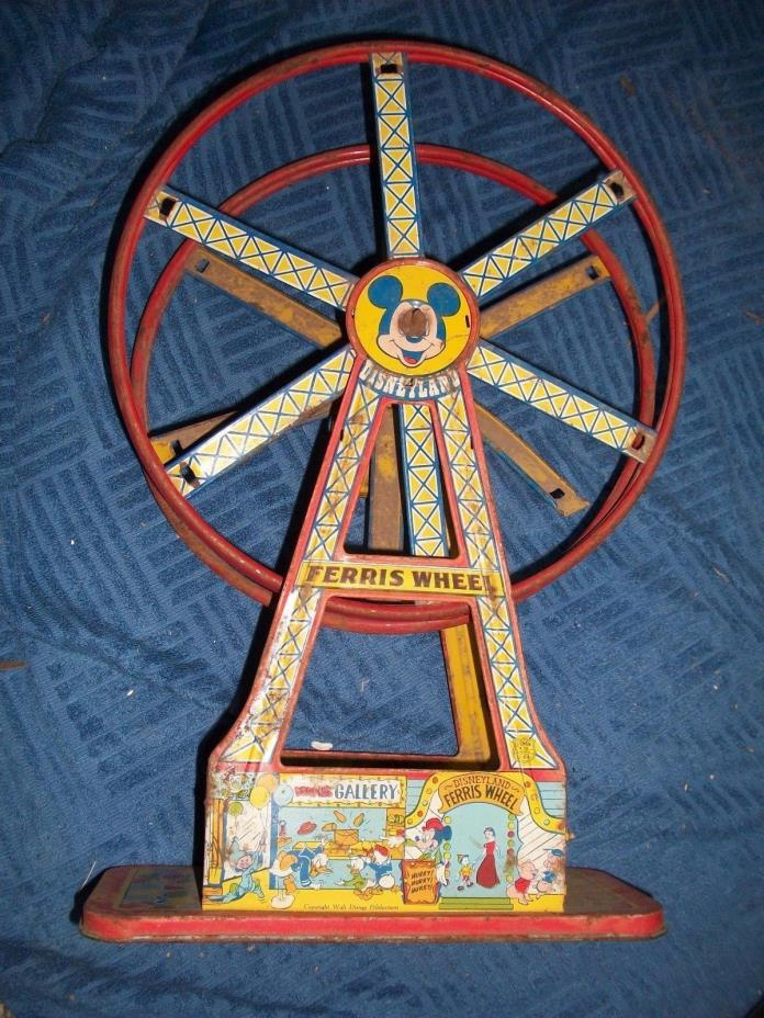VINTAGE TIN WIND UP CHEIN DISNEY MICKEY MOUSE FERRIS WHEEL NOT WORKING