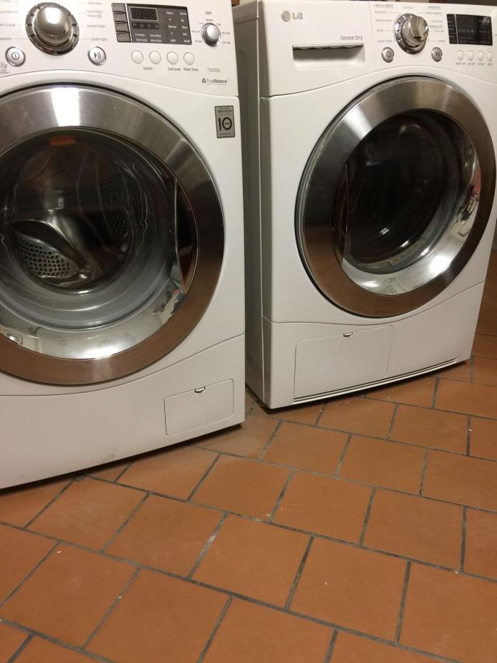 LG WM1377HW & DLEC855W Front Loading Washer Dryer White Used W/ Warranty