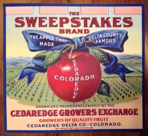 SWEEPSTAKES APPLE CRATE LABEL COLORADO decor, country primitive