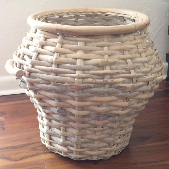 Large Rattan Basket Modern Farmhouse vintage storage Farmhouse Chic