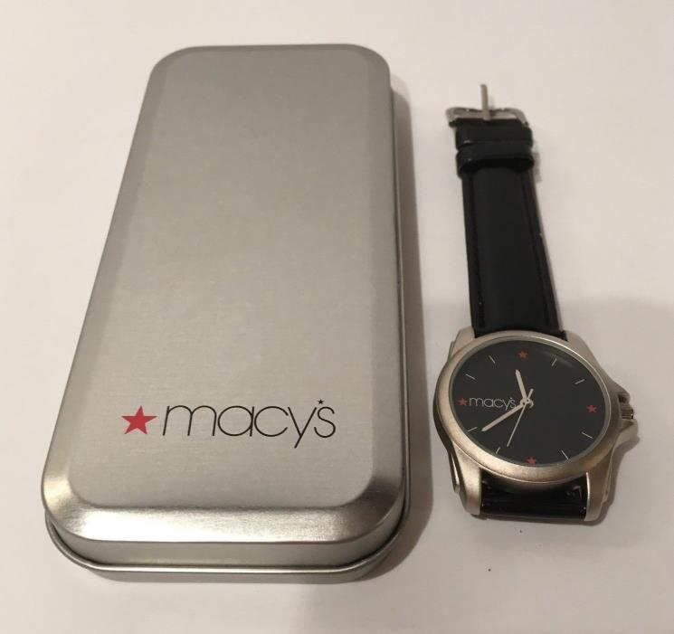 Macy's Classic Black Face Watch Stainless Steel Back Genuine Leather Band In Box