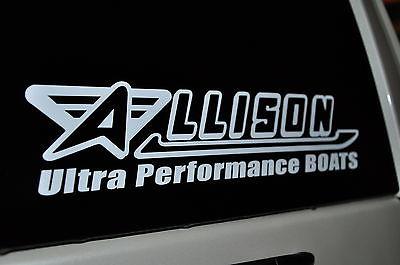 ALLISON RACE BOATS WHITE DI-CUT STICKERS 12