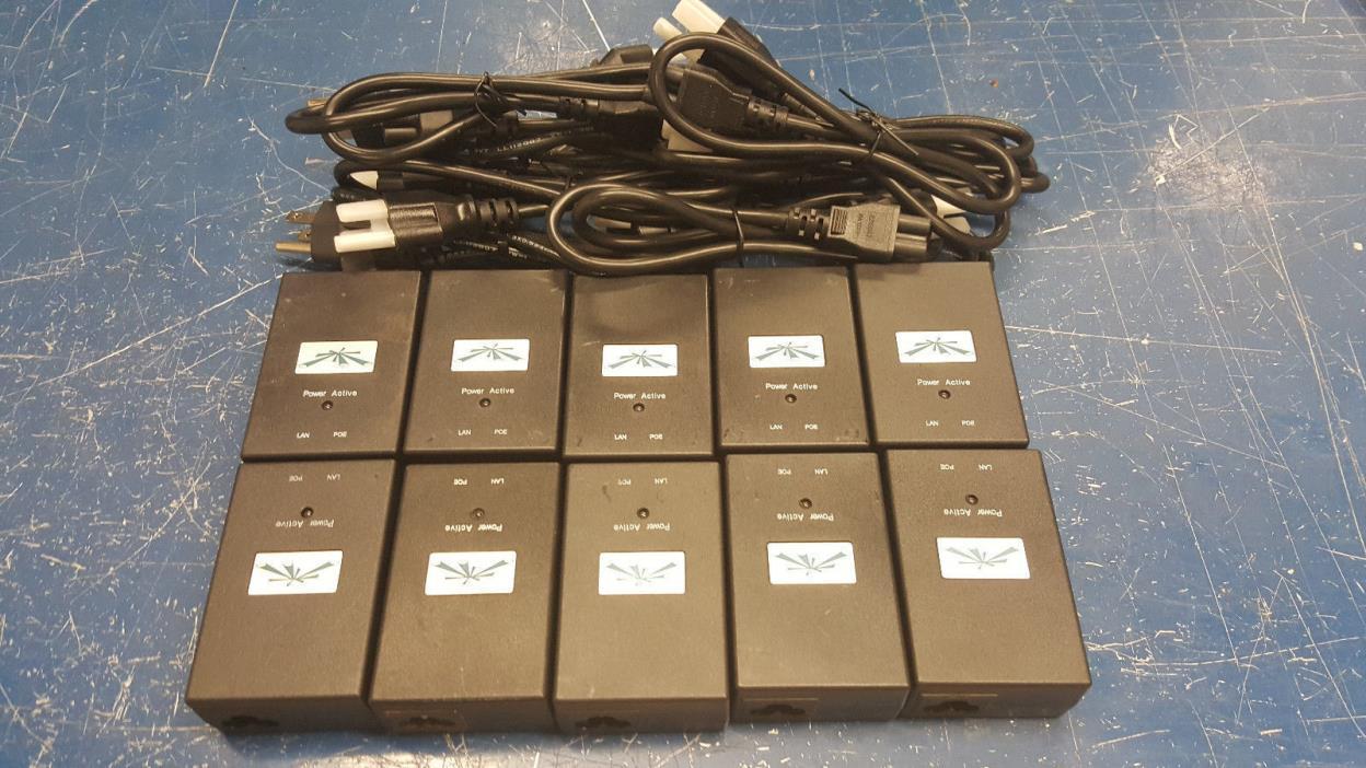 10 PACK Of Genuine Ubiquiti Carrier POE Adapter Model UBI-POE-24-5 DC 24V,  1A