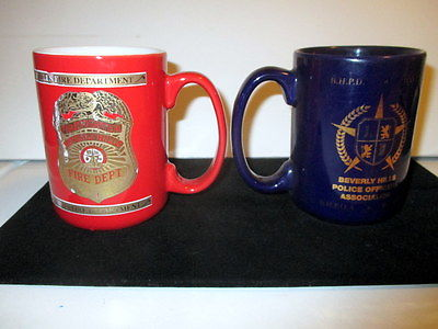 BEVERLY HILLS FIRE (BHFD)  & POLICE (BHPD)  DEPT BADGE COFFEE MUGS RED/BLUE USED