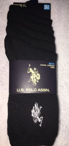 5 Pairs Boys U.S. Polo Assn Casual Comfort Crew Socks 6 - 8  Shoe Size 11 - 4
