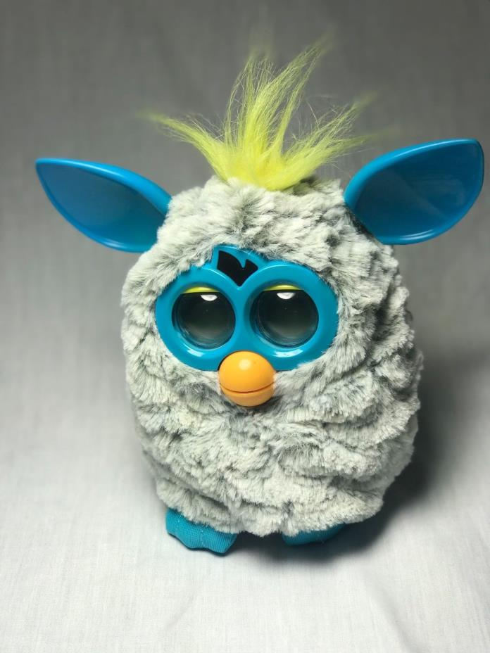 Hasbro Furby Boom 2012 Yellow Blue Gray Grey Light Up Motion Excellent TESTED