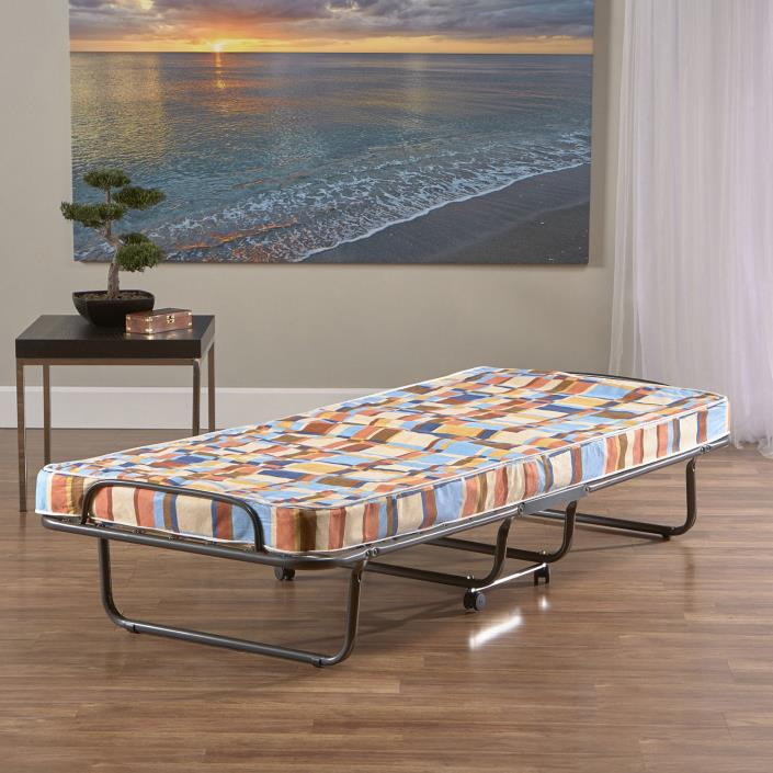 Folding Twin-Size Roll-Away Guest Bed Cot And Mattress Portable Sleeping