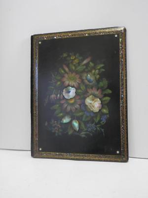 Antique Lacquer Paper Mache Mother of Pearl Blotter Letter Folder c1840