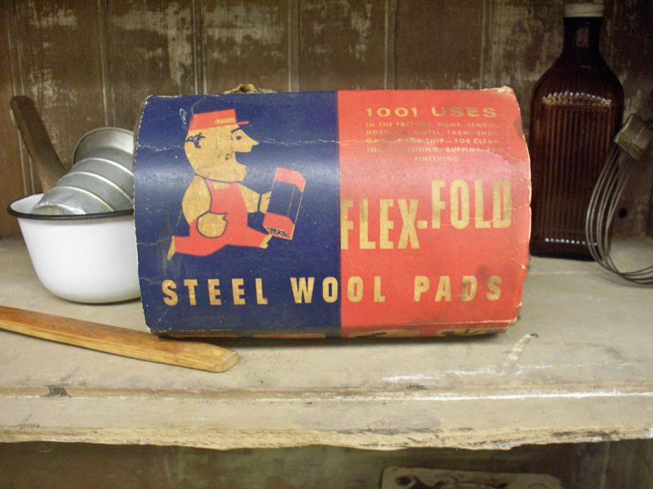 Antique Vtg Steel Wool Pads AMERICAN FLEX-FOLD Collectible Household Advertising