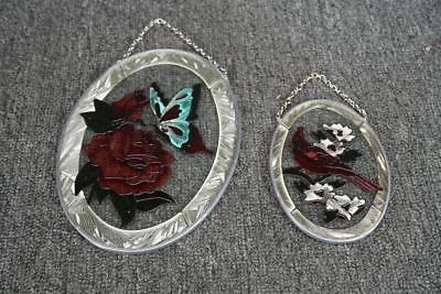 Hanging Stained Glass Decor Cardinal And Red Rose