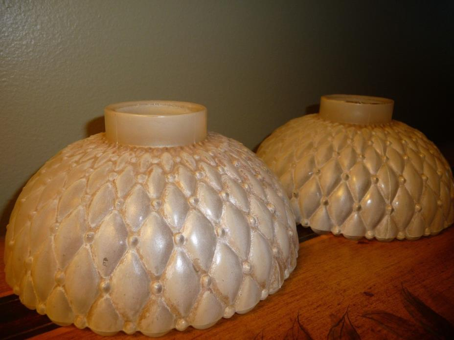 Decorative VTG. Pair Diamond Quilted Frosted Glass Light Fixture Globes Shades
