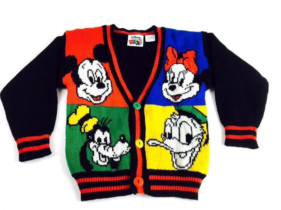 Vintage DISNEY Sweater 1990s Cardigan Disney Kids Mickey Mouse Donald Duck Kids