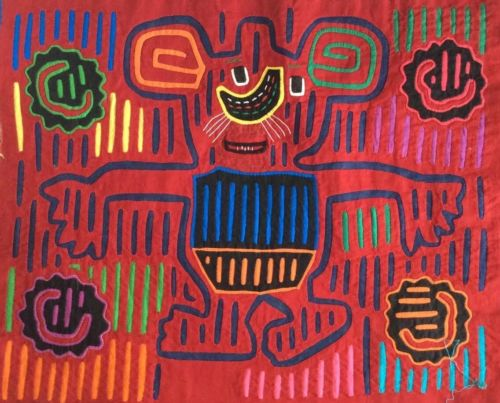 MOLA Reverse Appliqué Art Panama San Blas Cuna Kuna 70's - Mouse & Cheese