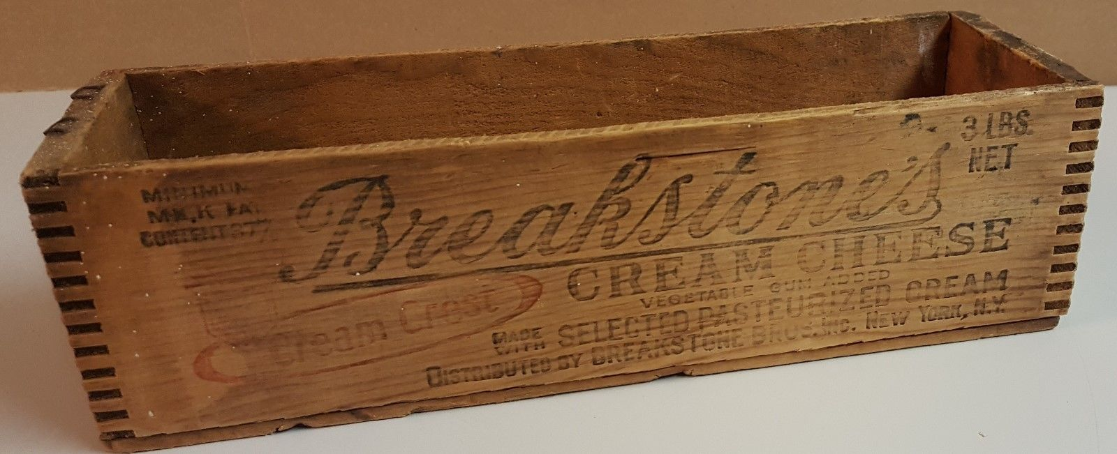 Vintage Breakstone's Cream Cheese Wood Box Crate Graphics Advertising New York 1