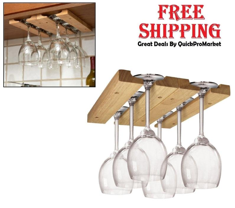 Wine Glass Holder Under Cabinet Hanging Rack Wood Hanger Stemware Bar Kitchen