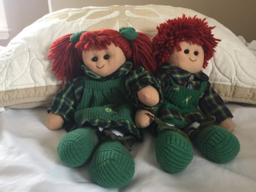 Vintage Raggedy Ann & Andy Dolls Shamrock Irish