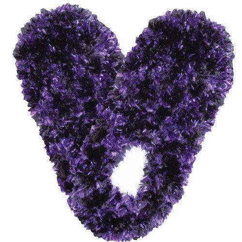 Black & Purple Fuzzy Footies Foot Coverings Slippers Non-slip