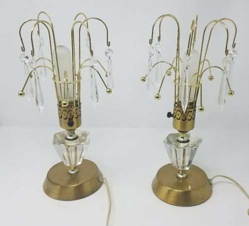 Pair of vintage 1950s brass, crystals and glass mantle/ table lamps