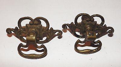 2 Antique Victorian Solid Brass Drawer Pulls