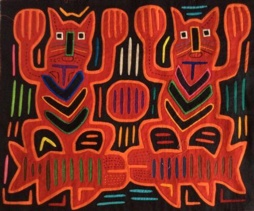 MOLA Reverse Appliqué Art Panama San Blas Cuna Kuna 70's - Totem Pole Cats