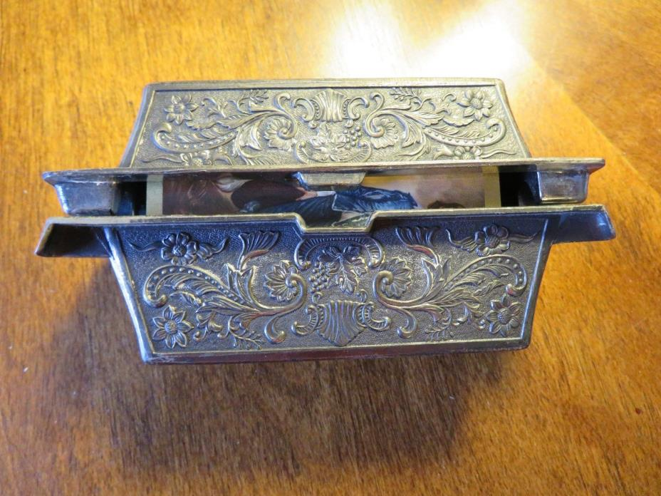 ANTIQUE  METAL PLAYING CARDS DOUBLE DECK BOX Raised Motif , JAPAN