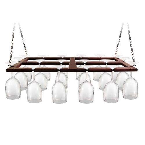 Brown Wood Hanging Wine Glass Bar Rack Stemware Holder Organizer Ceiling Mount