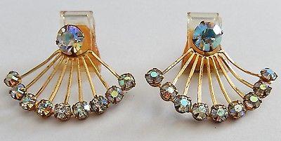 Vintage Jewelry Antique Aurora Rhinestone Ladies Shoe Buckle Clips Gold Tone