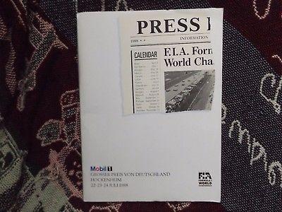 1988 GERMAN F1 GRAND PRIX PRESS PACK - HOCKENHEIM PLUS SUPPORT RACE BITS