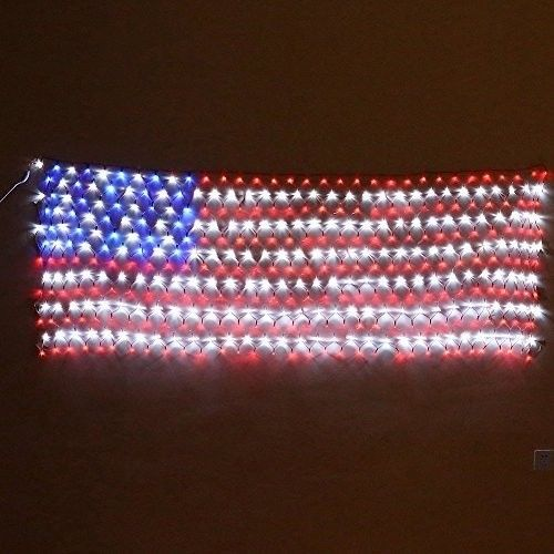 4th Of July Decor Led American Flag Lights Holiday Red White Blue Indoor Outdoor
