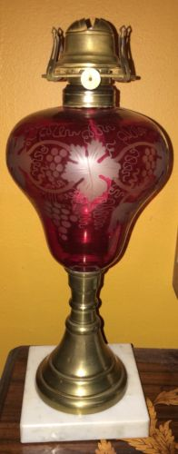 Antique American Cranberry Cut to Clear Overlay Glass Kerosene Oil Lamp