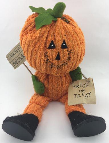 "Terry's Village Halloween Pumpkin Shelf Sitter 20"" Plush Fall Decoration"