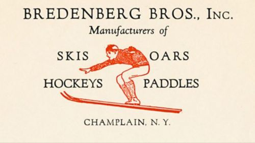 Antique BREDENBERG BROS. ASH WOOD SNOW SKIS With Bindings + Bamboo Poles