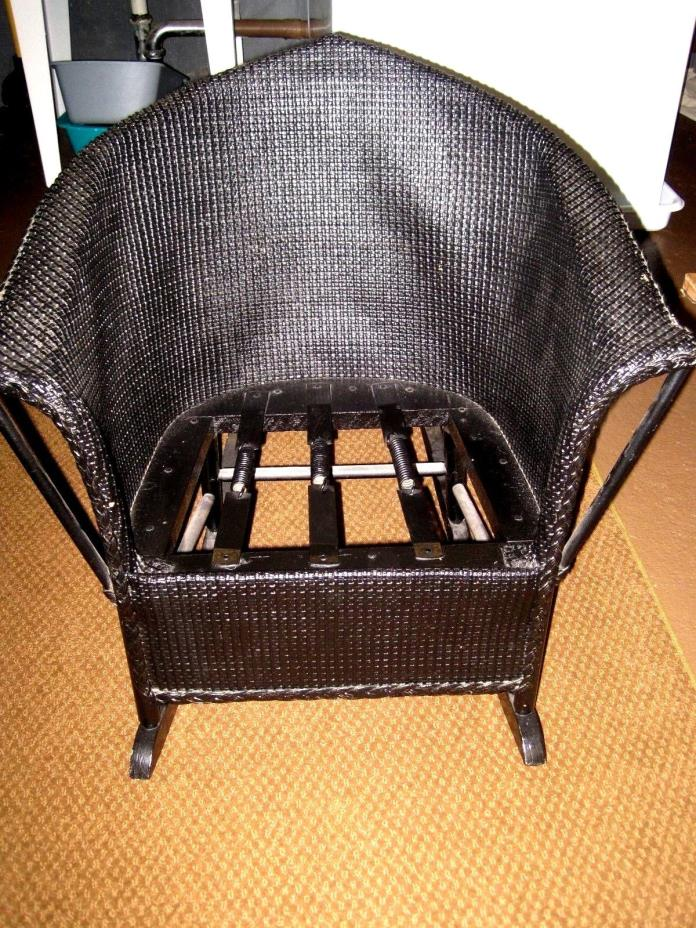 ANTIQUE BLACK WICKER CHILD-SIZE ROCKING CHAIR: EXCELLENT SHAPE:FROM 1930s