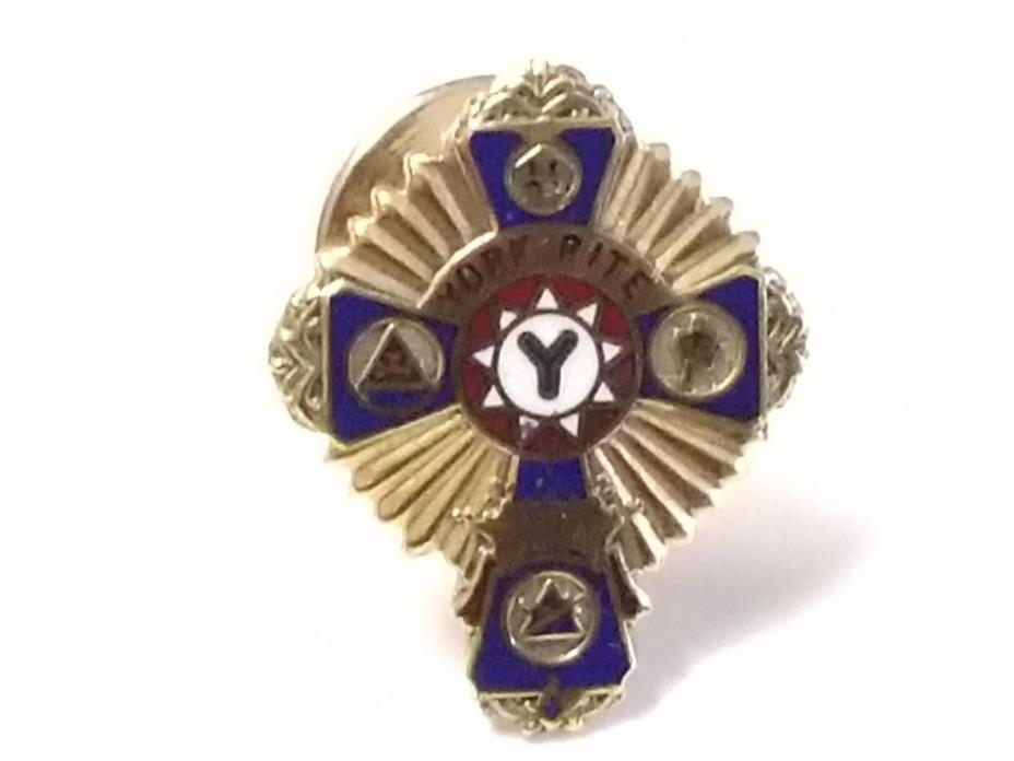 Vintage Mason Masonic York Rite Pin Gold Rolled Plated (10K) GRP