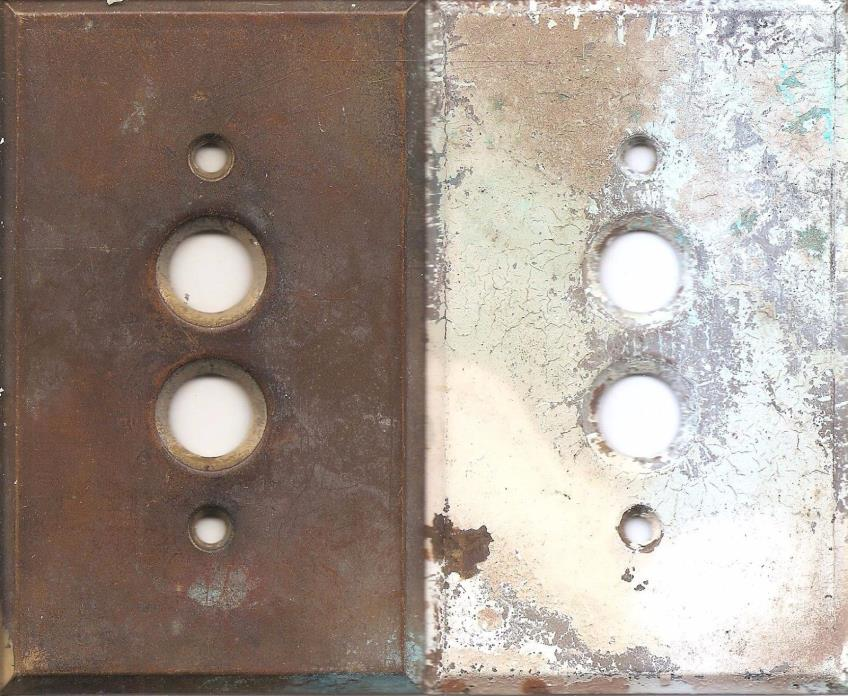 2 Vintage Brass  Button Single Switch Plates