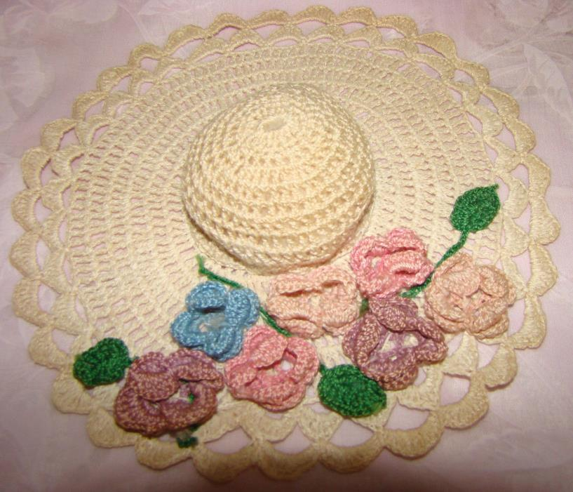 Vintage Hand Crocheted Hat Shape Pincushion Pin Cushion 3 - D flowers