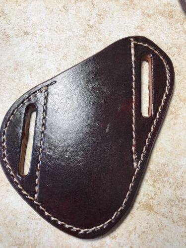 Pancake crossdraw quickdraw Leather Sheath Trapper style spyderco etc Mahogany