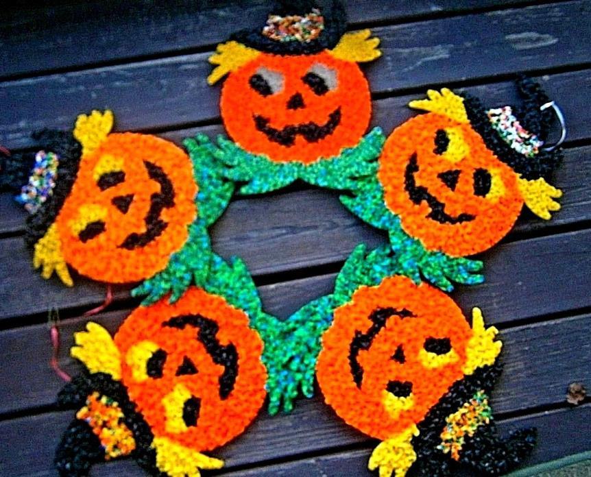 vtg retro melted plastic popcorn Halloween JOL Jack O'Lantern pumpkin lot  Vivid