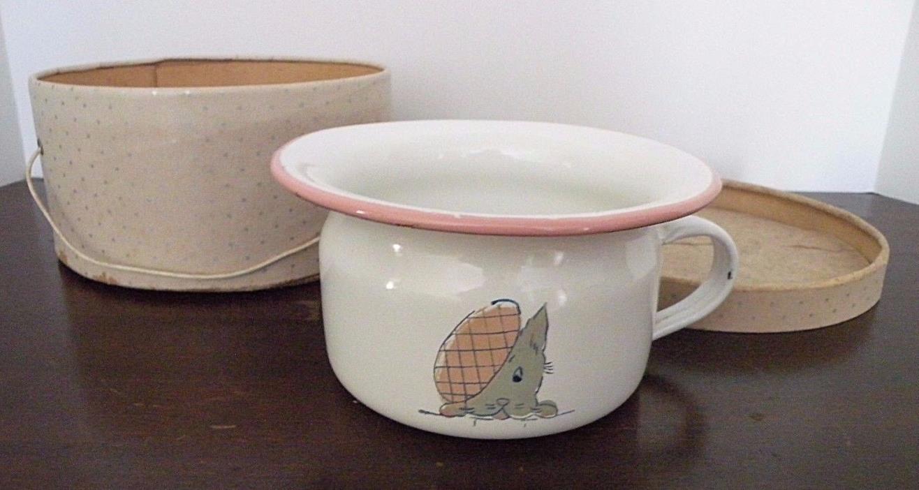 Vtg. Kreuger Child's Chamber Pot w/ Scottish Terrier Scottie Dog White/Pink Trim