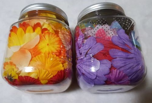 lot of 2 large jars scrapbook flowers possibly prima? Embellishments