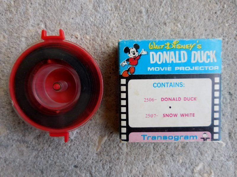 Film Reel Donald Duck Movie Projector By Transogram Snow White Donald Duck w/Box