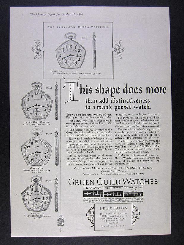 1925 Gruen Pentagon 50 174 124 Dietrich Pocket Watches vintage print Ad