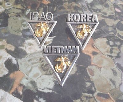 ONCE A MARINE ALWAYS U.S.A. 3 PEWTER PINS VIETNAM, IRAQ, KOREA MARINE CORP NEW.