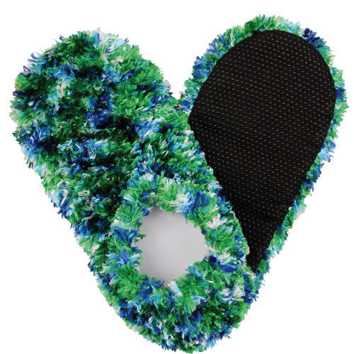Green Blue & White Fuzzy Footies Foot Coverings Slippers Non-slip