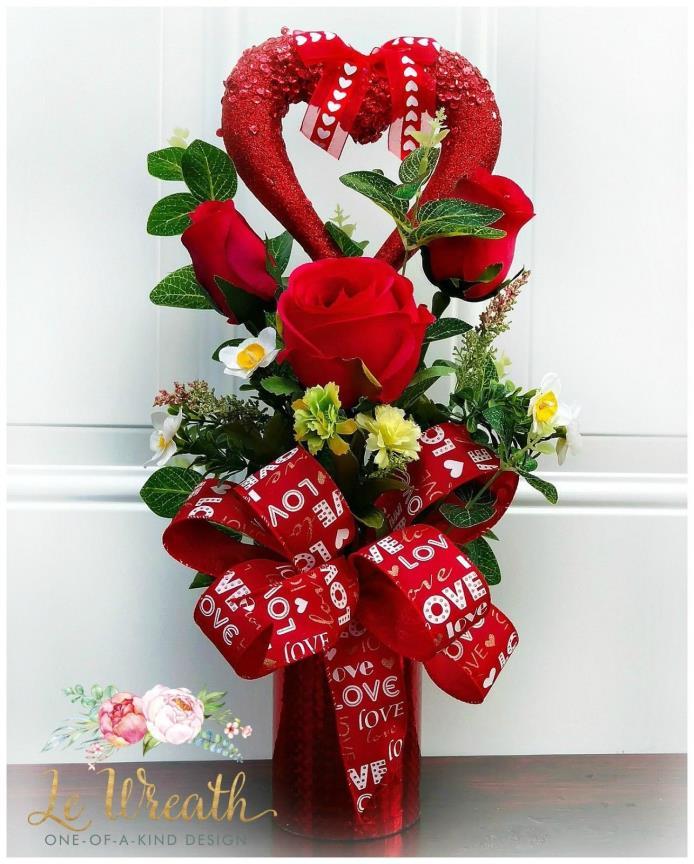 Valentines Heart Floral Arrangement Red Rose Centerpiece Romantic Gift NEW
