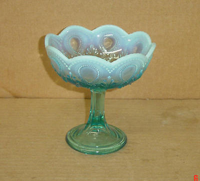 EAPG BLUE OPALESCENT ACANTHUS WITH SCROLL JELLY COMPORT NORTHWOOD GLASS 1903