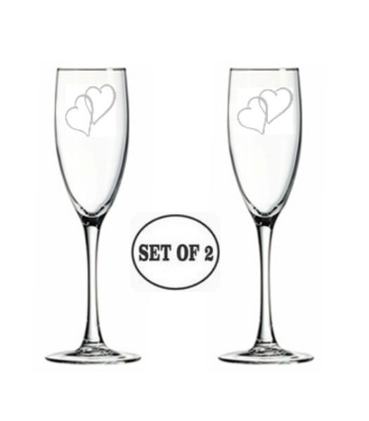Personalized Etched 2 Heart Set Of 2 Wedding Toasting Champagne Flutes Engraved